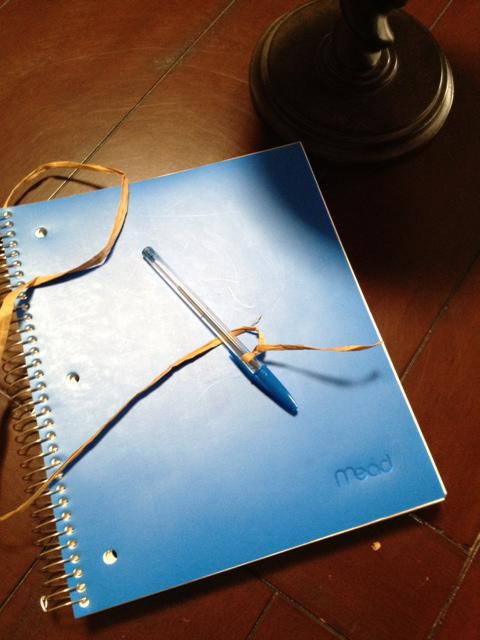 """Hands touching pen and paper in our new """"family journal."""" Add a little or a lot every day - whatever you want to say."""